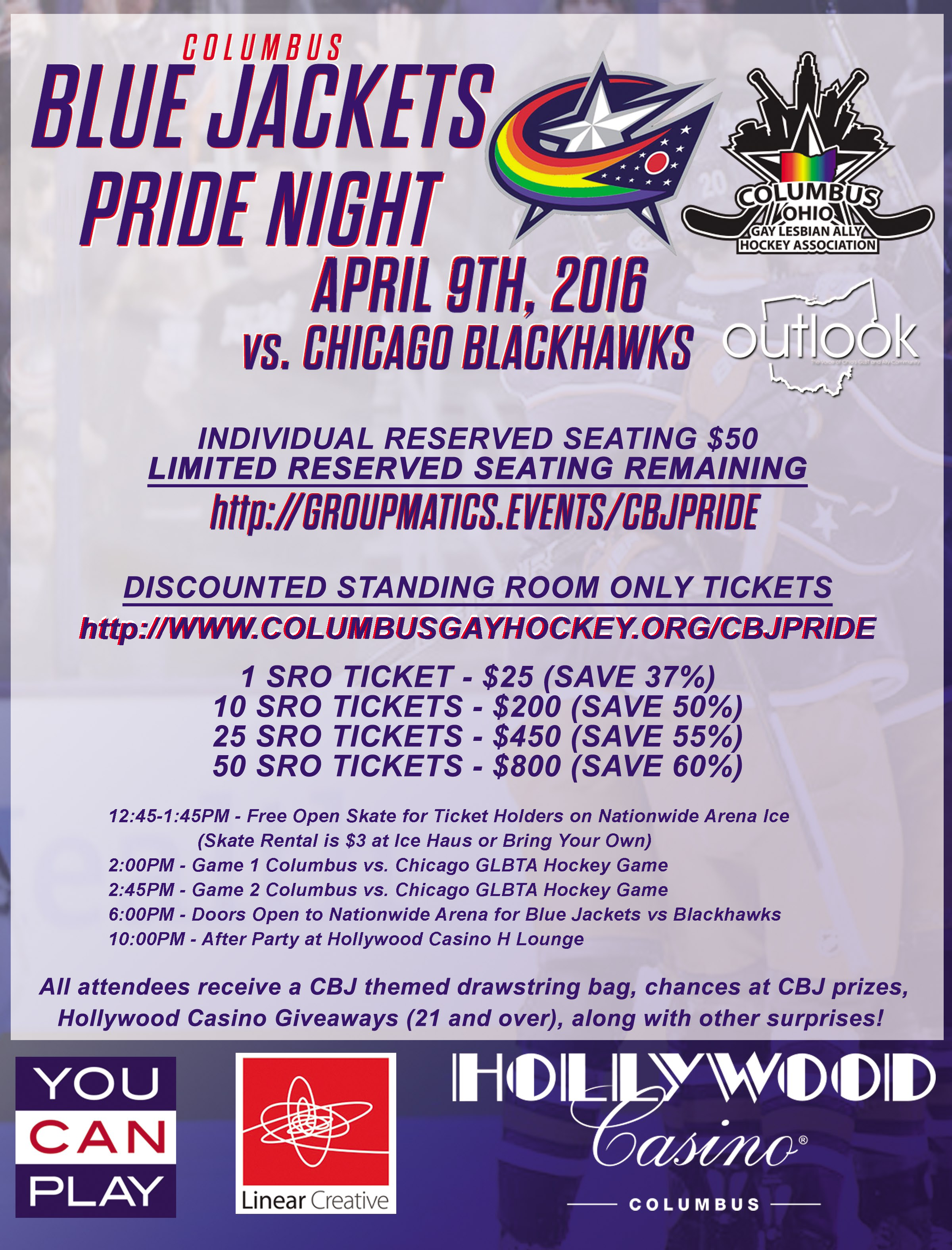 CBJ Pride Night – Columbus Ohio Gay Lesbian Ally Hockey Association